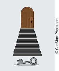 Steps Locked Door Key