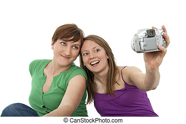 Two young women taking a self-portrait