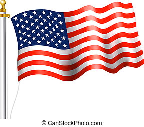 American Flag Waving - American Flag on flag Pole Waving
