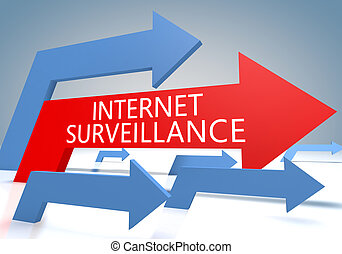 Internet Surveillance 3d render concept with blue and red...
