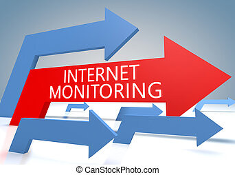 Internet Monitoring 3d render concept with blue and red...