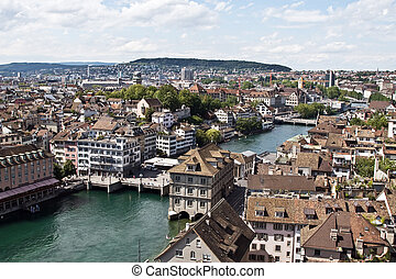 Zurich cityscape from the top of Grossmuenster church