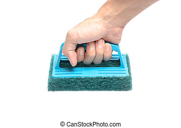 scrubber - Hand holding and cleaning with brush scrubber...