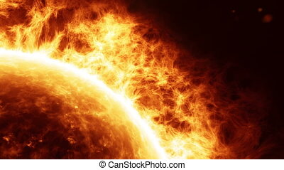 HD - Sun surface with solar flares Close-up
