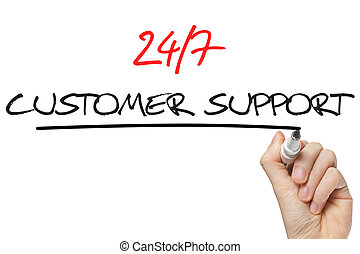 Hand writing 24 7 customer support - 24/7 customer support...