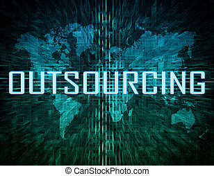 Outsourcing text concept on green digital world map...