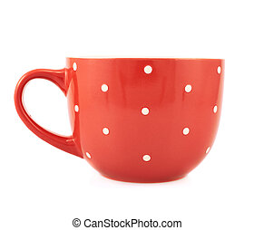 Red polka dot cup isolated - Red polka dot cup, front view,...