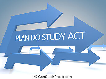 Plan Do Study Act 3d render concept with blue arrows on a...
