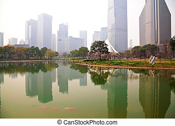 Shanghai Lujiazui at city park buildings backgrounds...