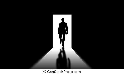 Men\'s silhouette - Male silhouette in opened door....