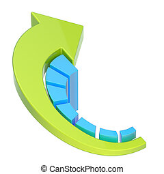 Growing bar chart graph isolated - Growing seven bar blue...