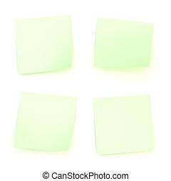 Four bent sticker paper notes - Four bent green sticker...