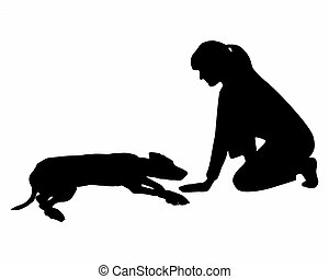perro, obedience:, Command:, colocar, Abajo