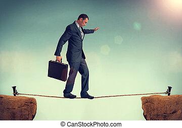 homme affaires, équilibrage, Corde raide