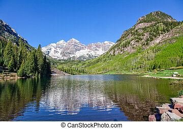 Maroon Bells Scenic - a scenic landscape of maroon bells...