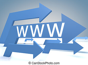 World wide web 3d render concept with blue arrows on a...