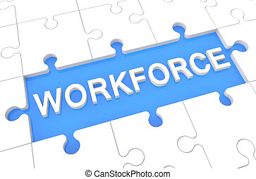 Workforce - puzzle 3d render illustration with word on blue...