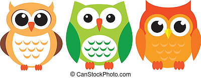 Owls - A set of three colourfull owls