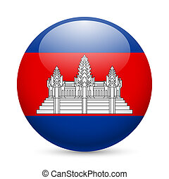 ronde, Glanzend, pictogram, Cambodja
