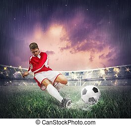 Soccer player during a match in a stadium