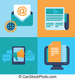 Vector email marketing concepts - flat icons - Vector email...