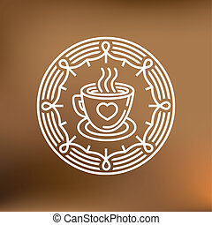Vector coffee mug on round emblem - outline graphic design...