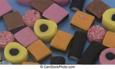 Liquorice all sorts - Close up of an Liquorice Allsorts on...