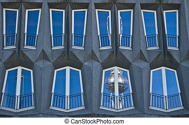 Fernsehturm - distorted reflection of the Fernsehturm in a...