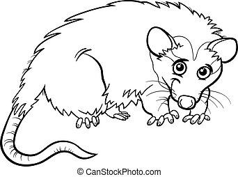 opossum animal cartoon coloring book - Black and White...