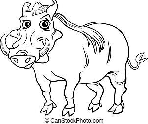 warthog animal cartoon coloring book - Black and White...