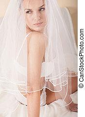 sensual, esposa, escondendo, sob, branca, véu