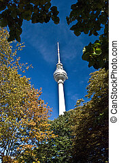 Fernsehturm - view of the Fernsehturm through trees on a...
