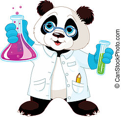 Panda Scientist - A cute panda in lab coat mixing chemicals.