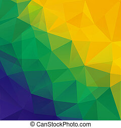 Abstract polygon background. Brazil flag colors. Vector.