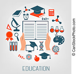 Flat design concept icons for education. E-learning concept. Vector