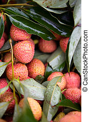 Fresh Litchi - Assortment of fresh litchis on market stall