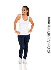 happy woman posing on white background - full length...