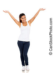 happy young woman with arms up on white background