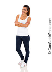 young woman with arms crossed isolated on white background