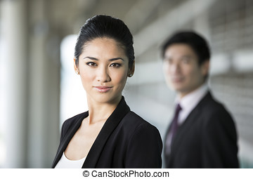Asian businesswoman with a serious expression. - Portrait of...