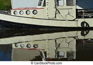 Harbour reflection - Reflection of boat in Oakville Harbour...