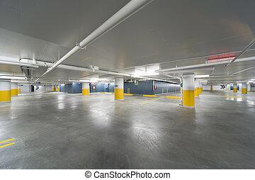 New parking garage - Wide view of a new underground parking...
