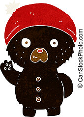 cartoon waving black teddy bear in winter hat
