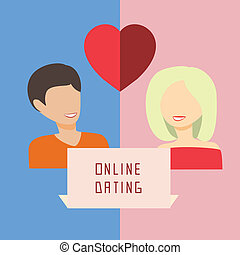 Online dating, flat vector illustration.