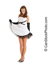 black and white - pin-up picture of pretty woman in black...