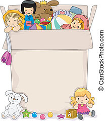Girls Toy Box - Background Illustration Featuring a Box Full...