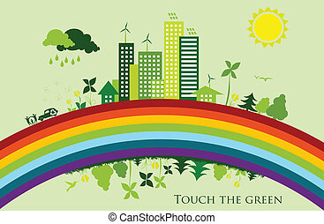environmental conservation cities. Green City on a rainbow