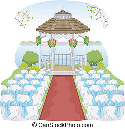 Garden Wedding Gazebo - Illustration of a Garden Wedding...
