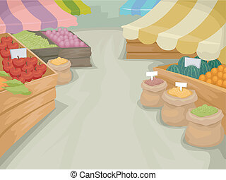 Farmers Market - Illustration Featuring a Market Selling...