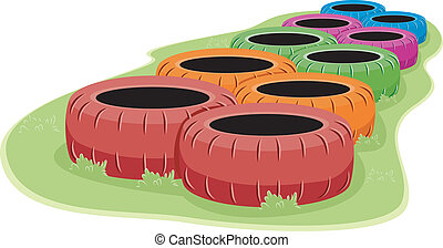 Obstacle Course - Illustration of a Set of Tires in an...